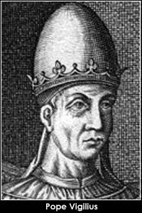 El papa Vigilio. Excomulgado por el Segundo Concilio de Constatinopla en 553