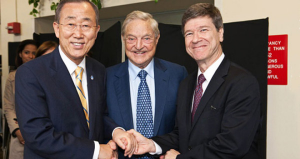 Gen Ban Ki Moon (Secretario General ONU), George Soros y Jeffrey Sachs
